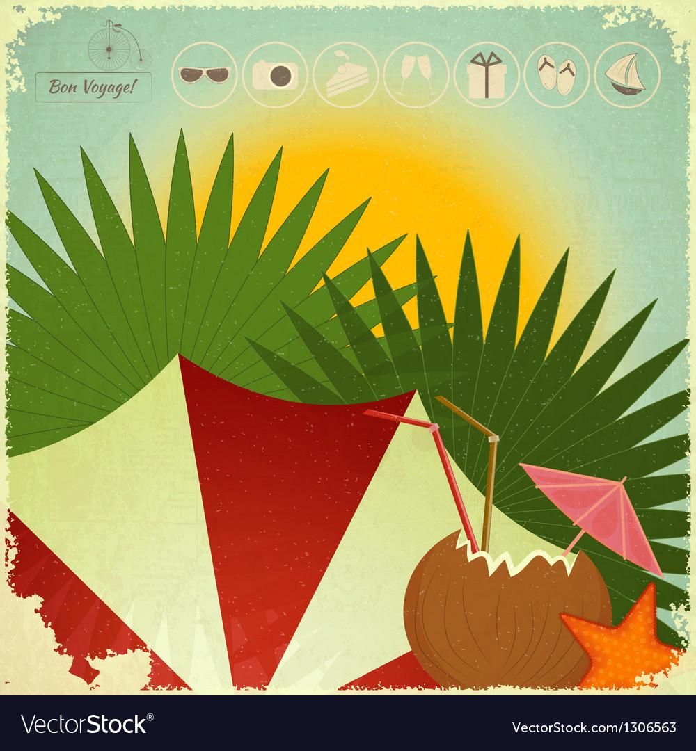 Summer beach card in retro style