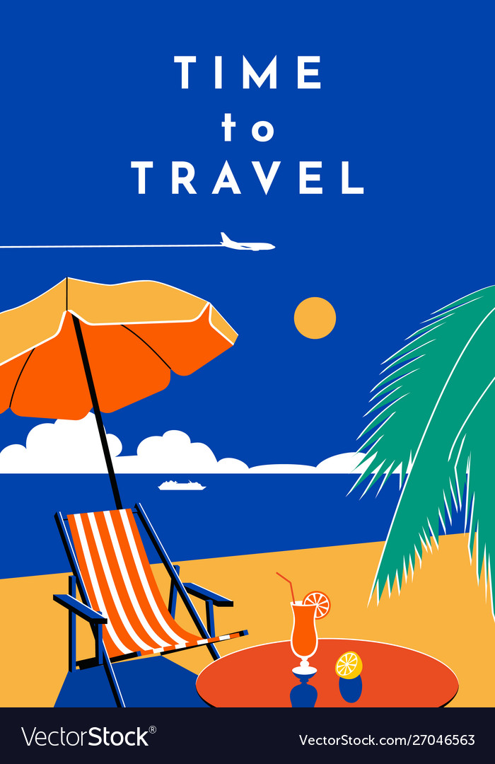 Time to travel poster summer banner with beach
