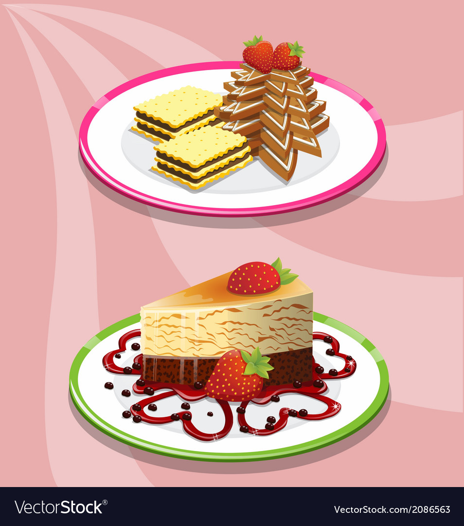 Two cake and saucer on a pink background