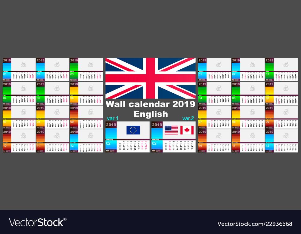 2019 english wall calendar two iso 8601 templates