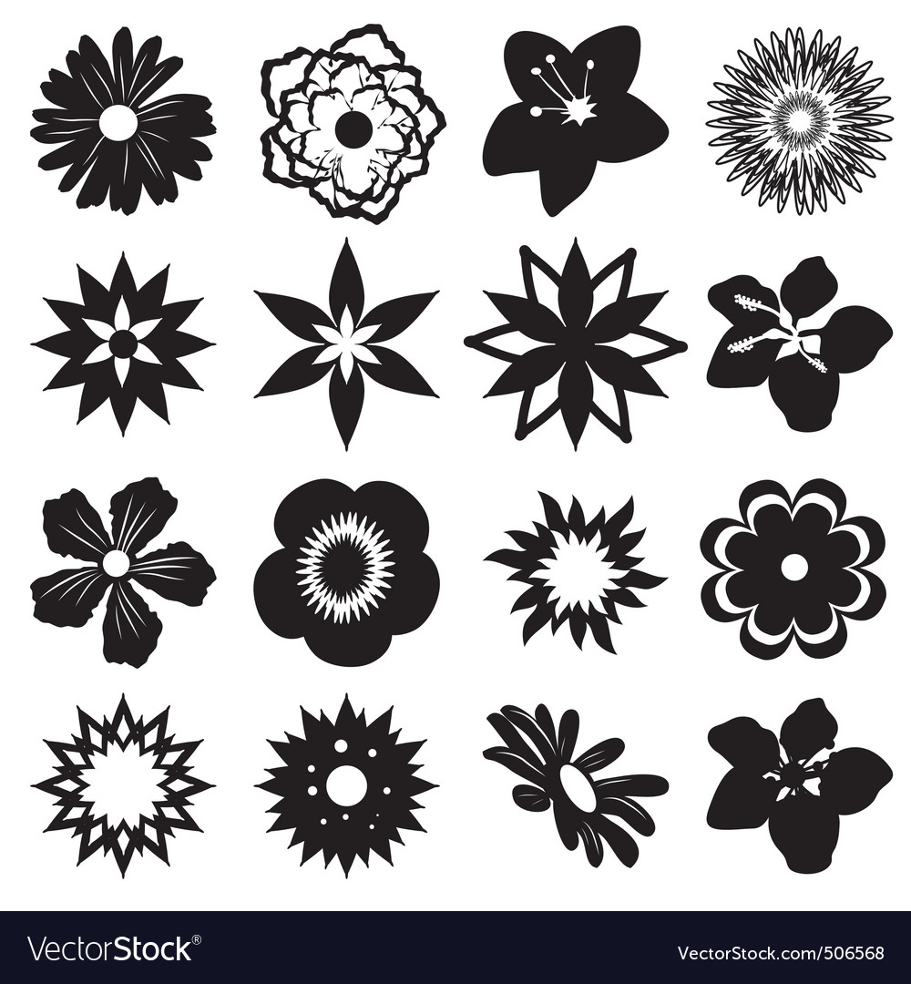 Black Flower Pattern Silhouette Stock Illustration: A Set Of Silhouettes Of Flowers Royalty Free Vector Image