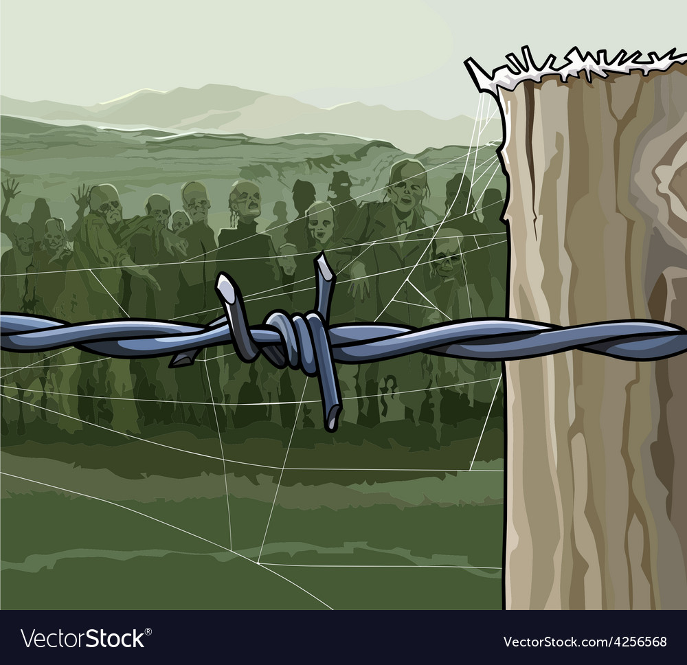 Cartoon zombie crowd behind barbed wire