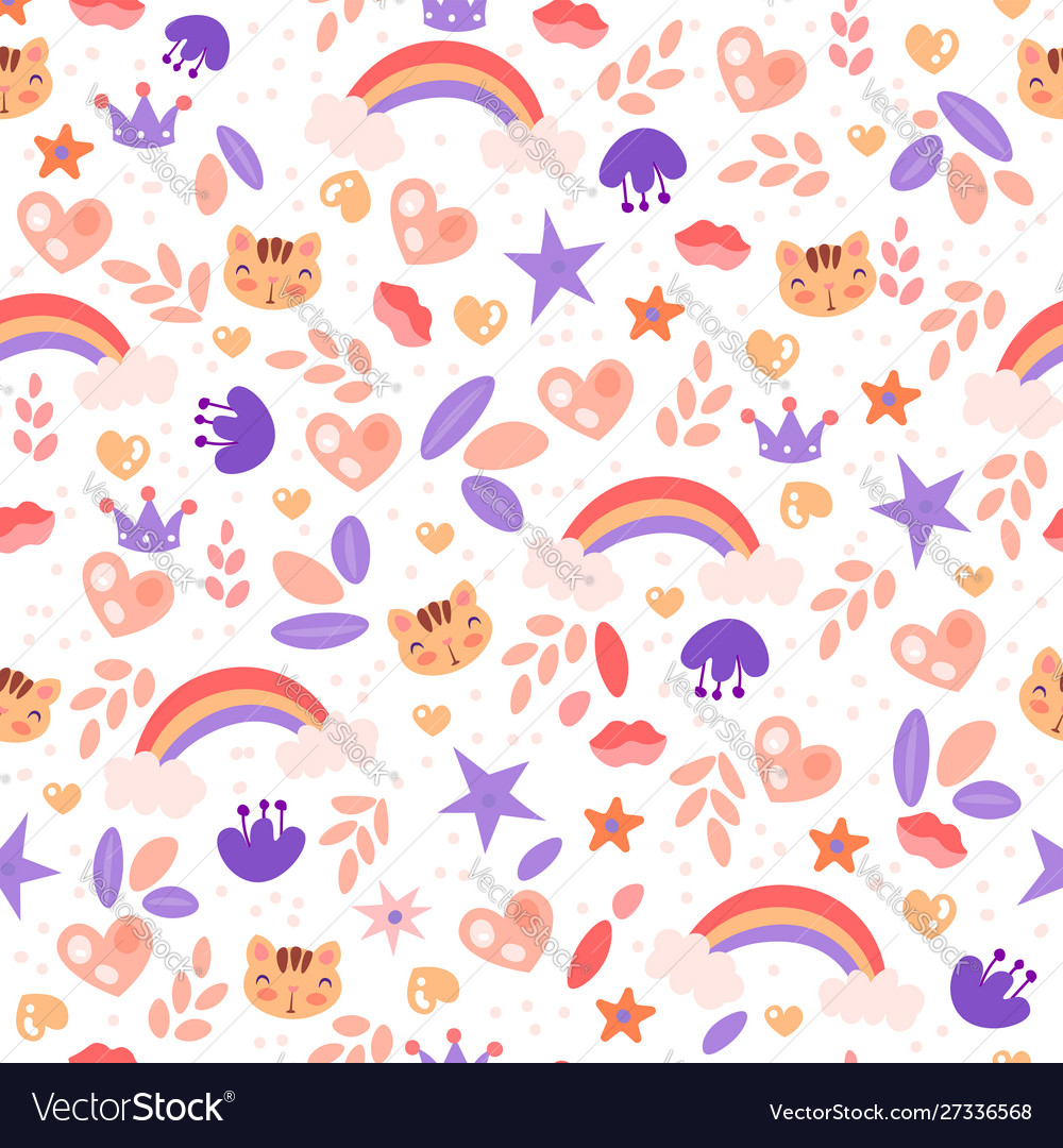 Cute girl pattern with rainbow heart cat stars vector