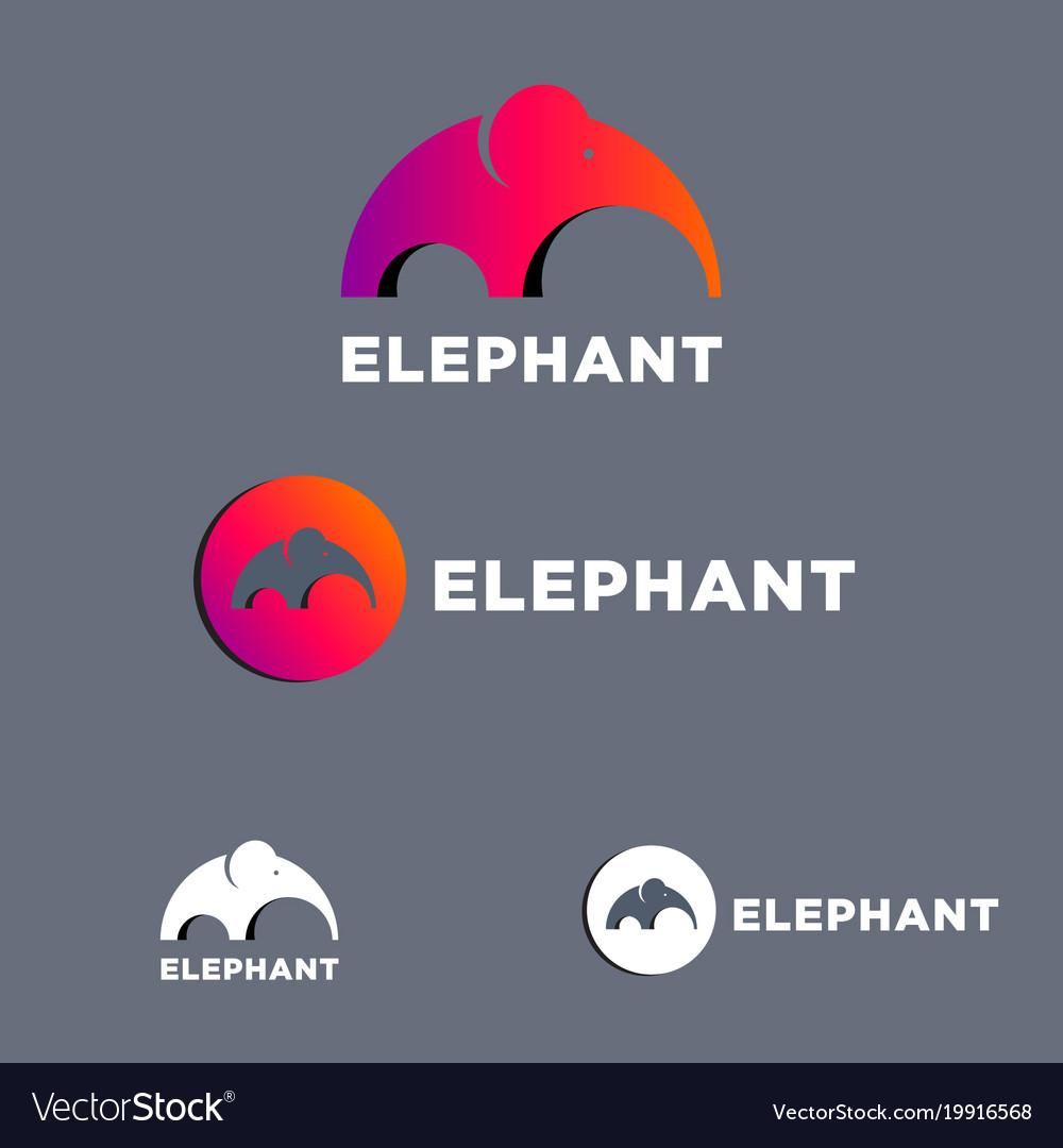 Elephant mammoth flat logo set