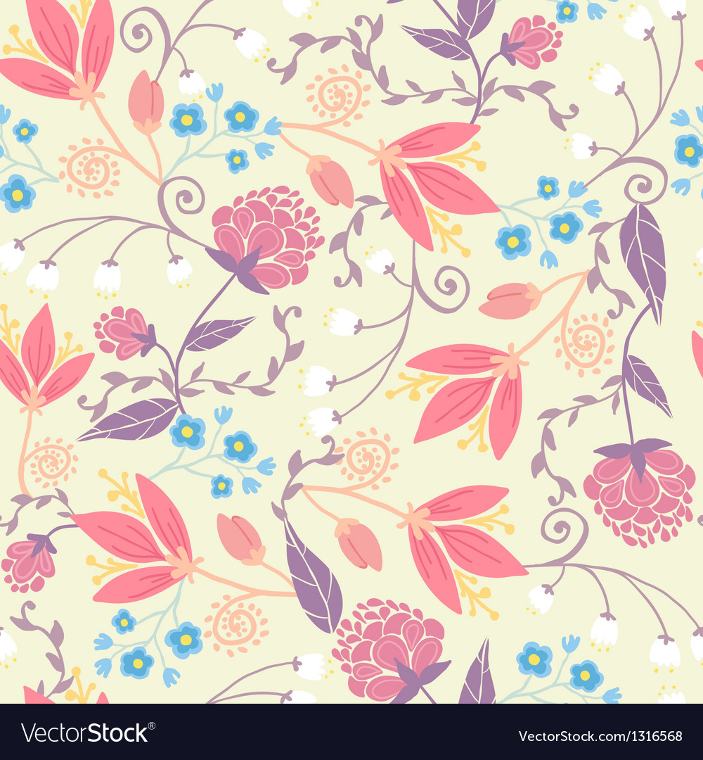 Fresh field flowers and leaves seamless pattern