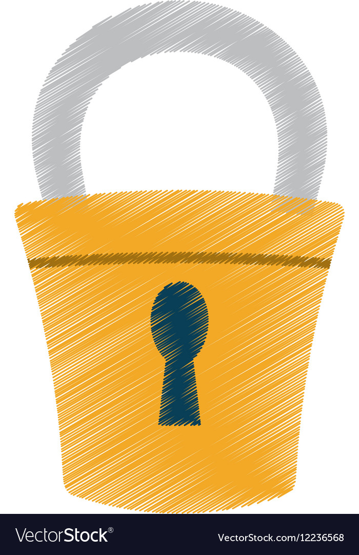 Hand draw padlock lock security money color