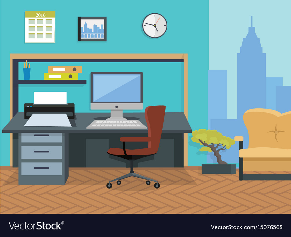 Interior office room for design vector image