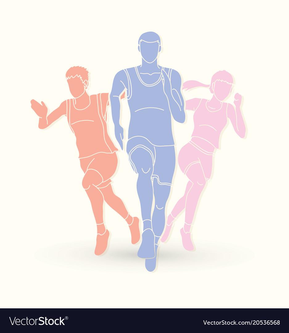 Marathon runner start running group of people