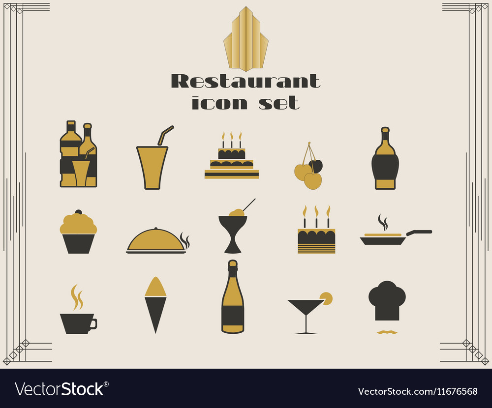 Restaurant icons in art deco style