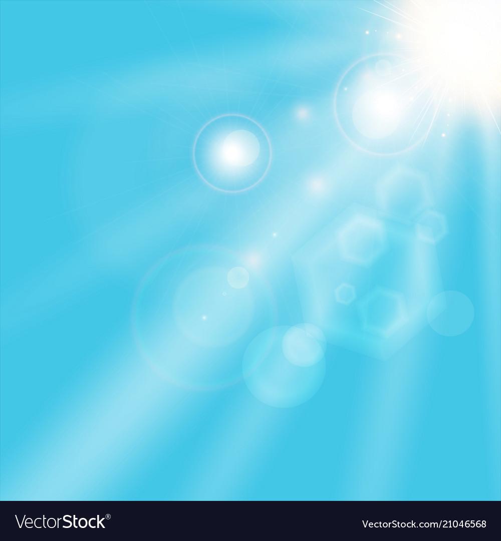 Summer sunlight shining on blue sky background