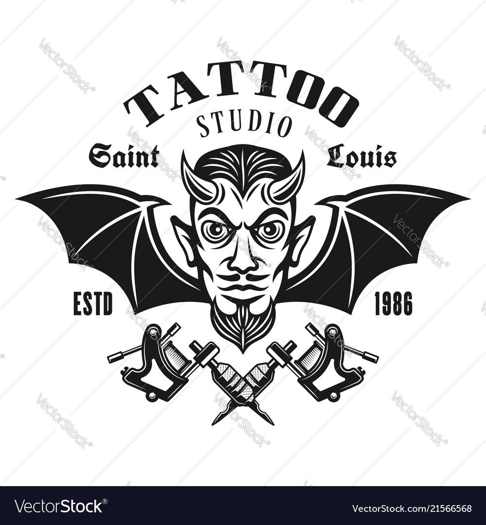 Tattoo studio emblem with horned devil head