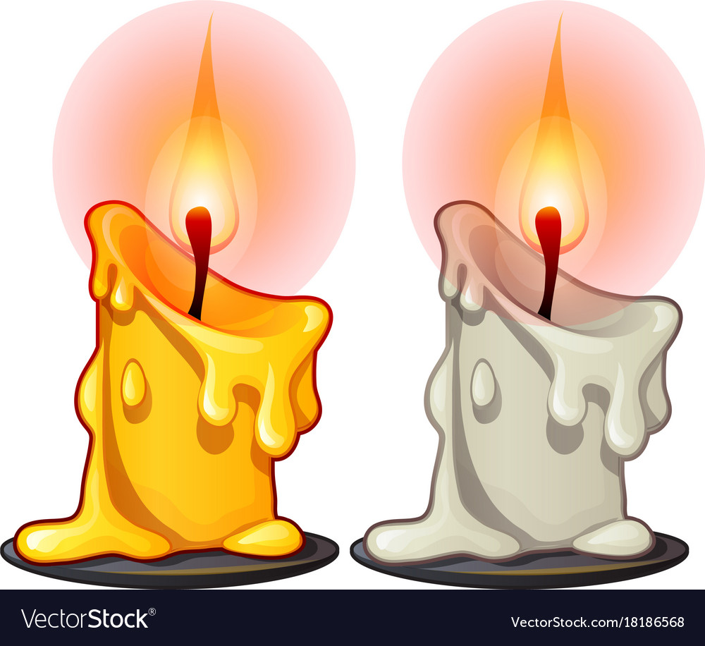 Two burning wax candles white and yellow color