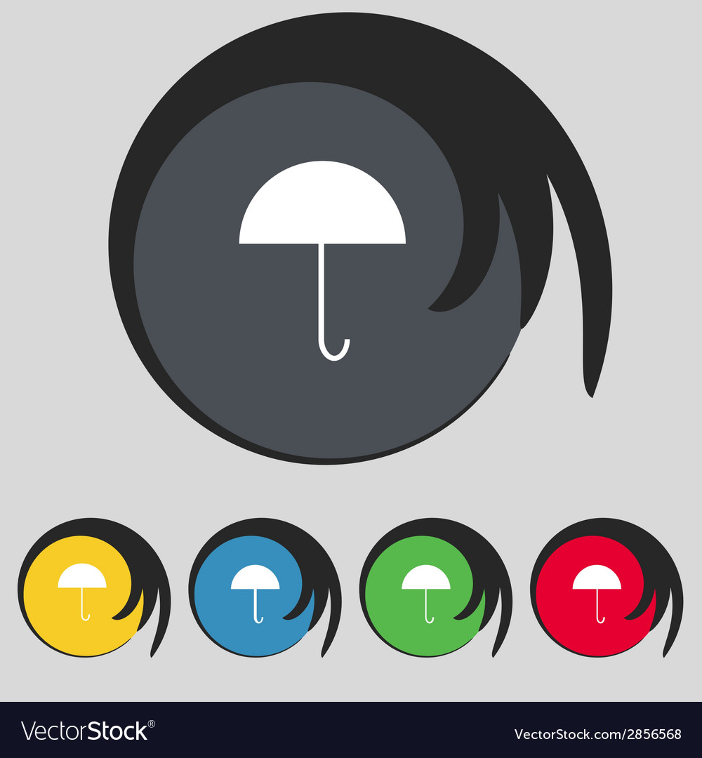 Umbrella Sign Icon Rain Protection Symbol Set Vector Image