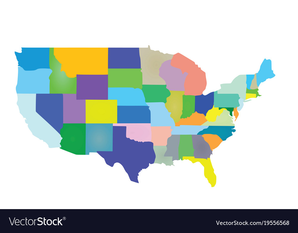 Usa map colorful Royalty Free Vector Image   VectorStock