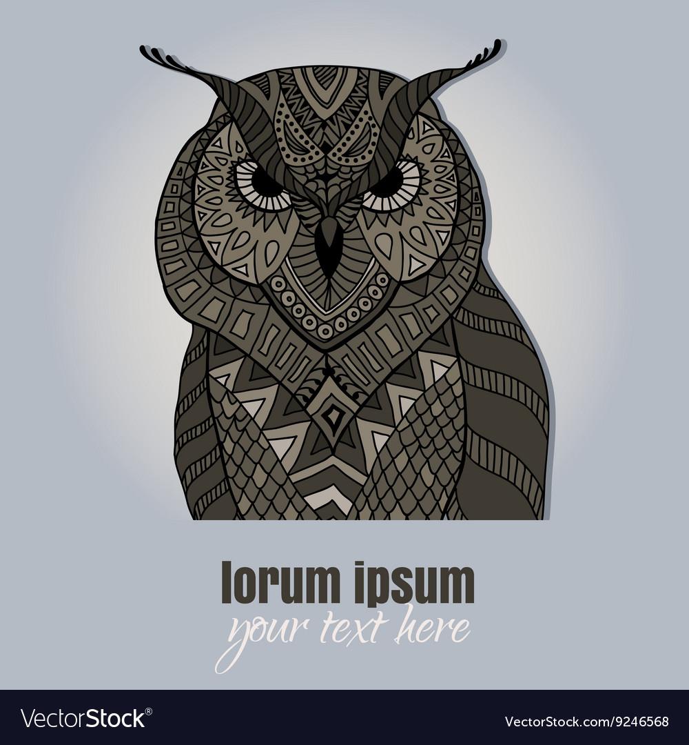 Zentangle owl blue background