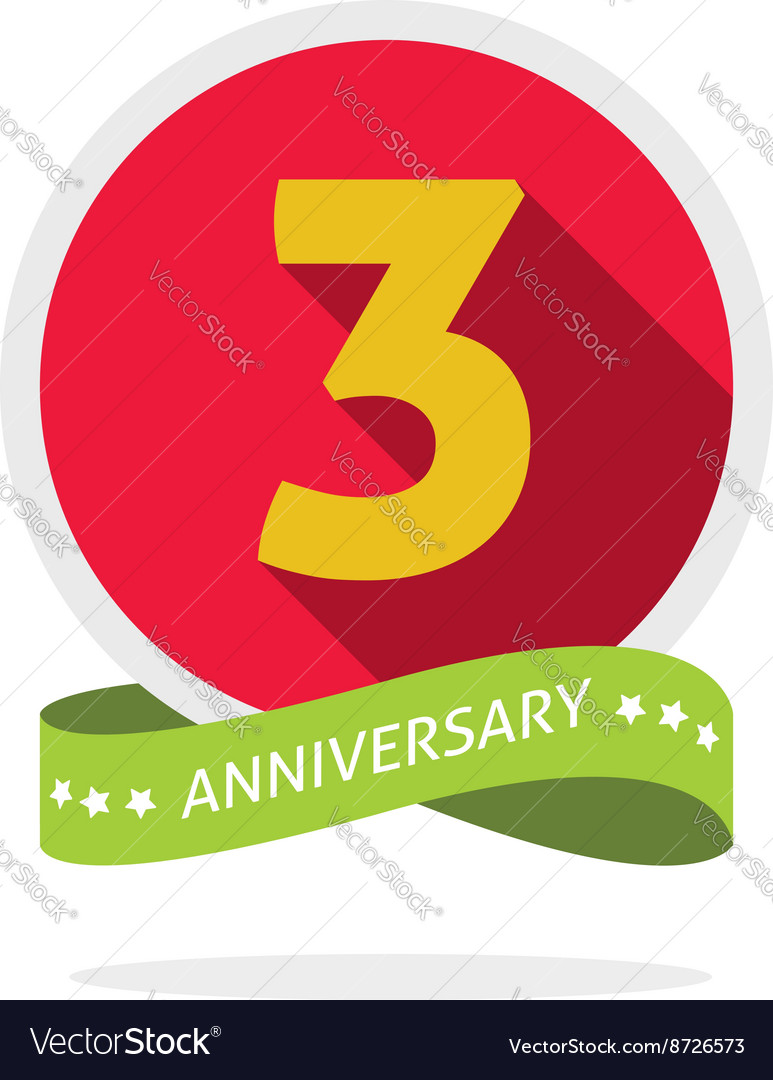 Anniversary 3rd logo template with a shadow on red
