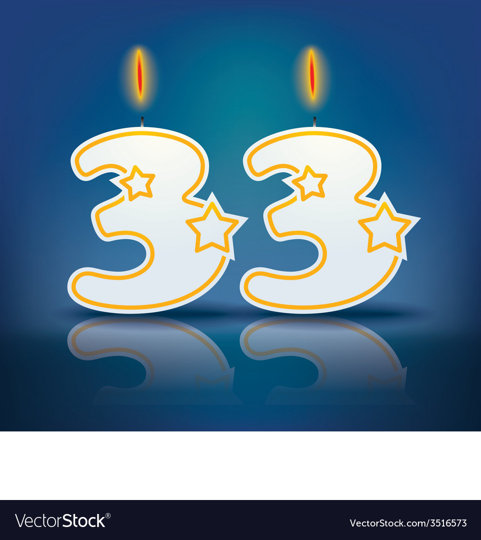 Birthday Candle Number 33 Royalty Free Vector Image