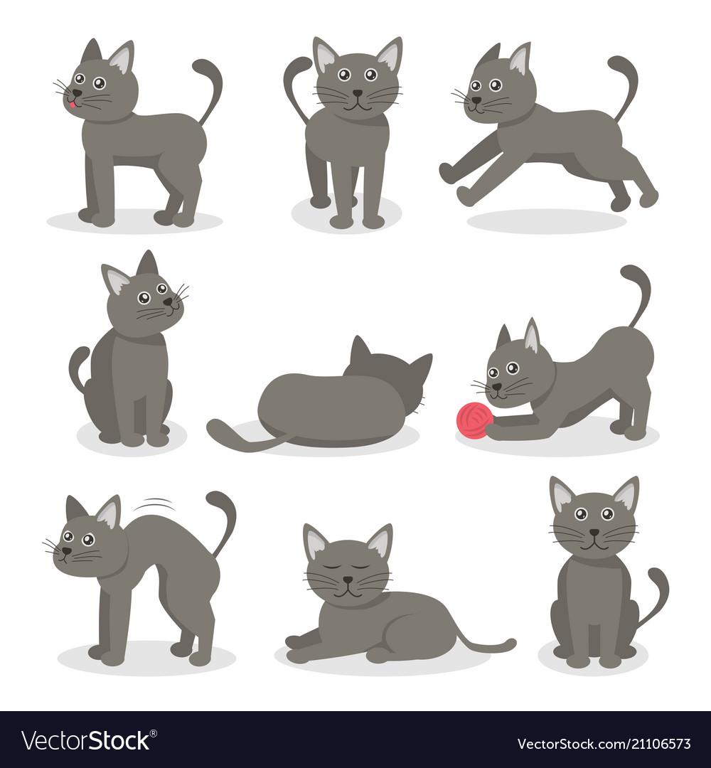 Cartoon characters tabby cat set