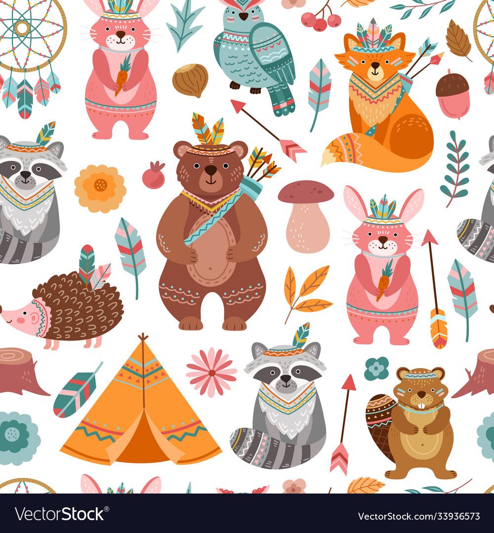 Cute tribal animal texture bright animals