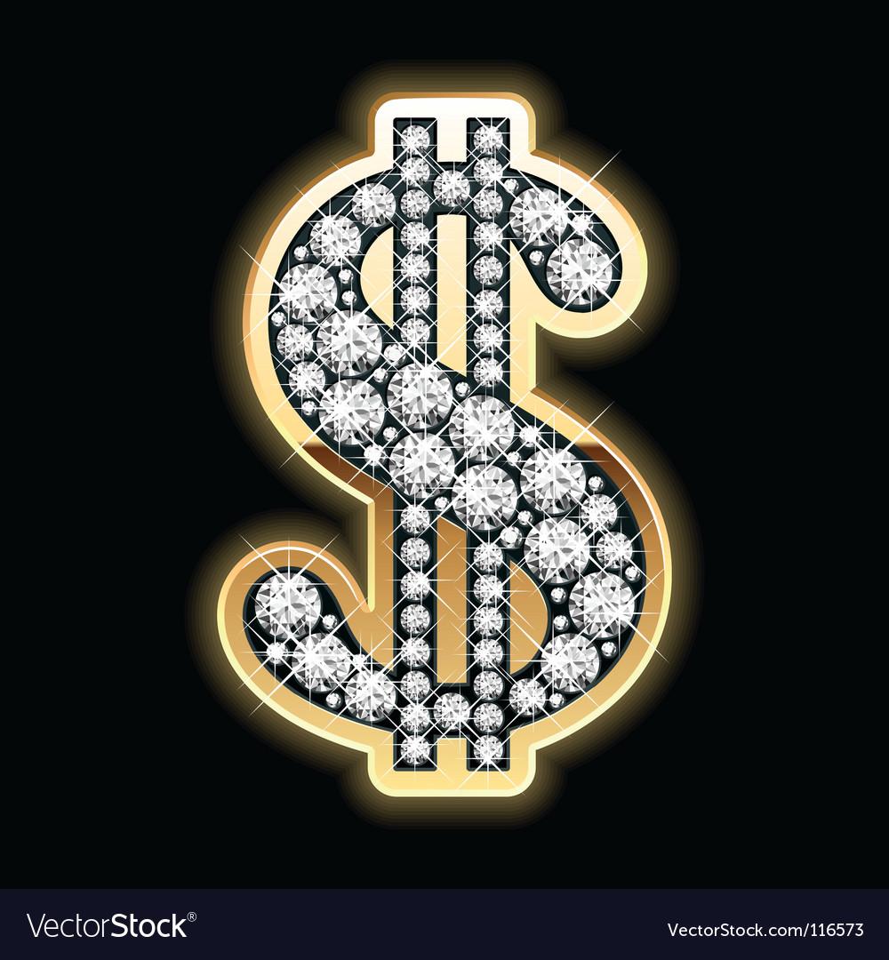 Dollar symbol in diamonds