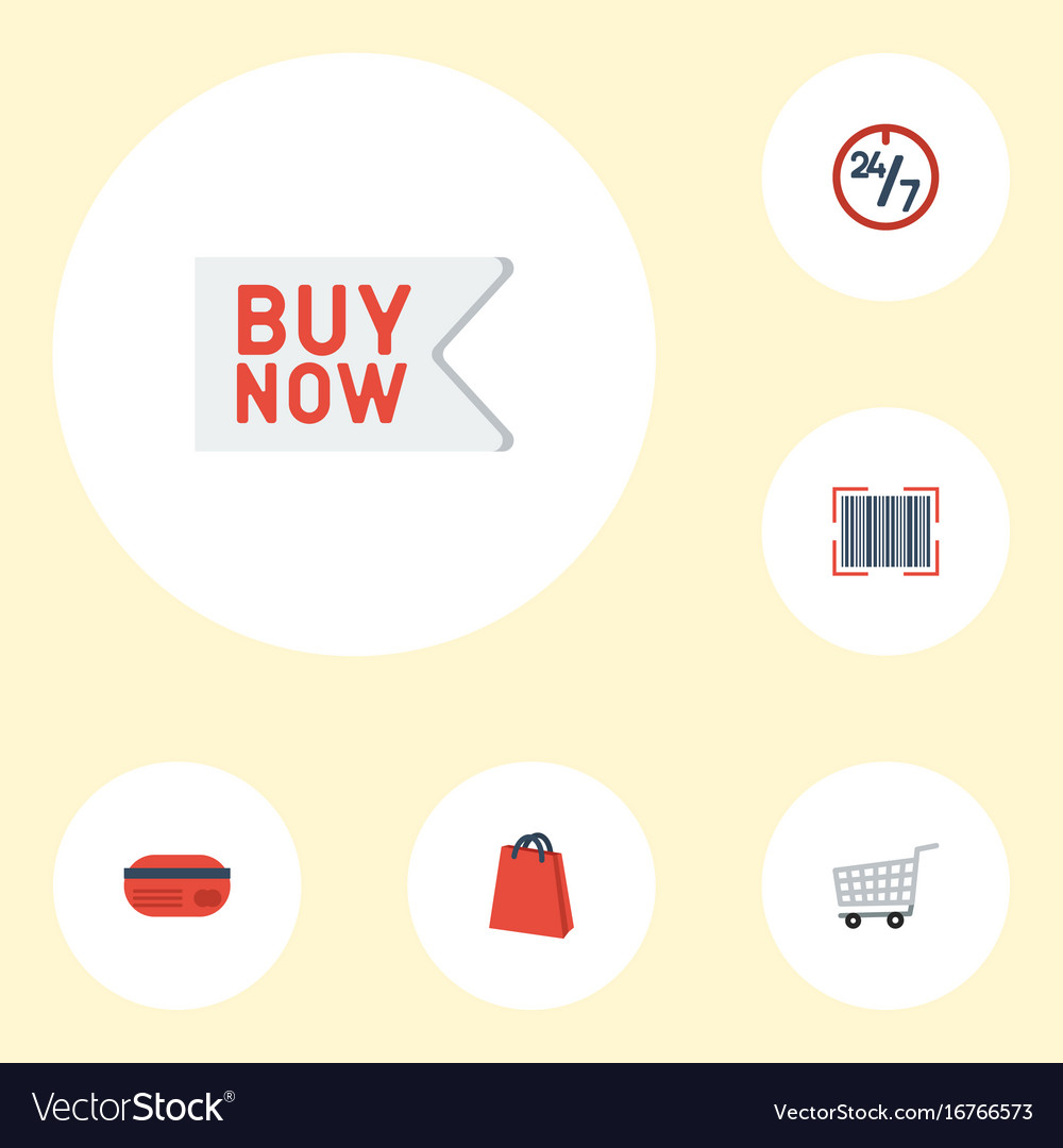 Flat icons trolley support buy now and other