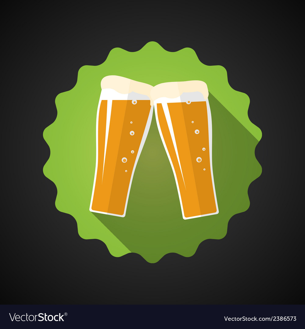 Glass of Beer Flat Long Shadow Icon