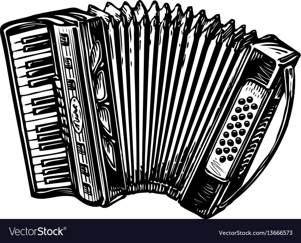 Hand-drawn vintage accordion bayan music