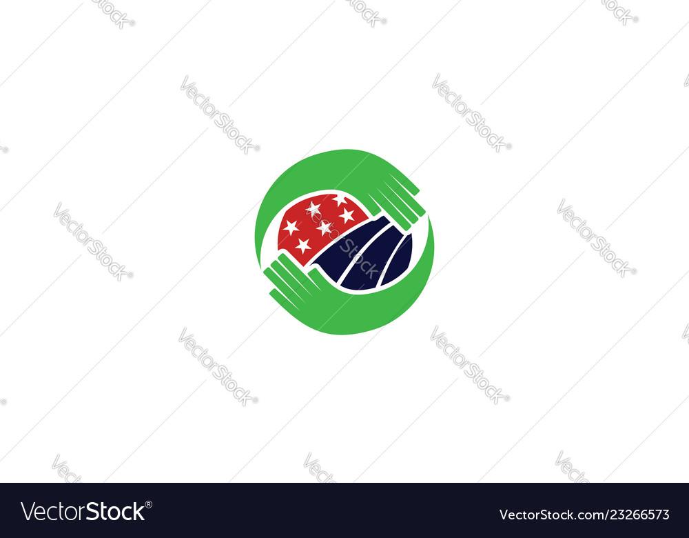 Hand eco flag logo icon