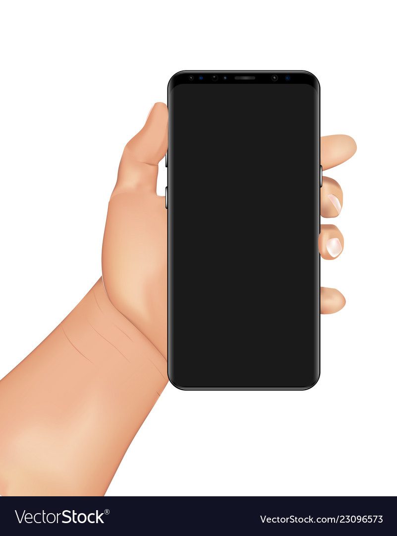 Human hand holds smartphone