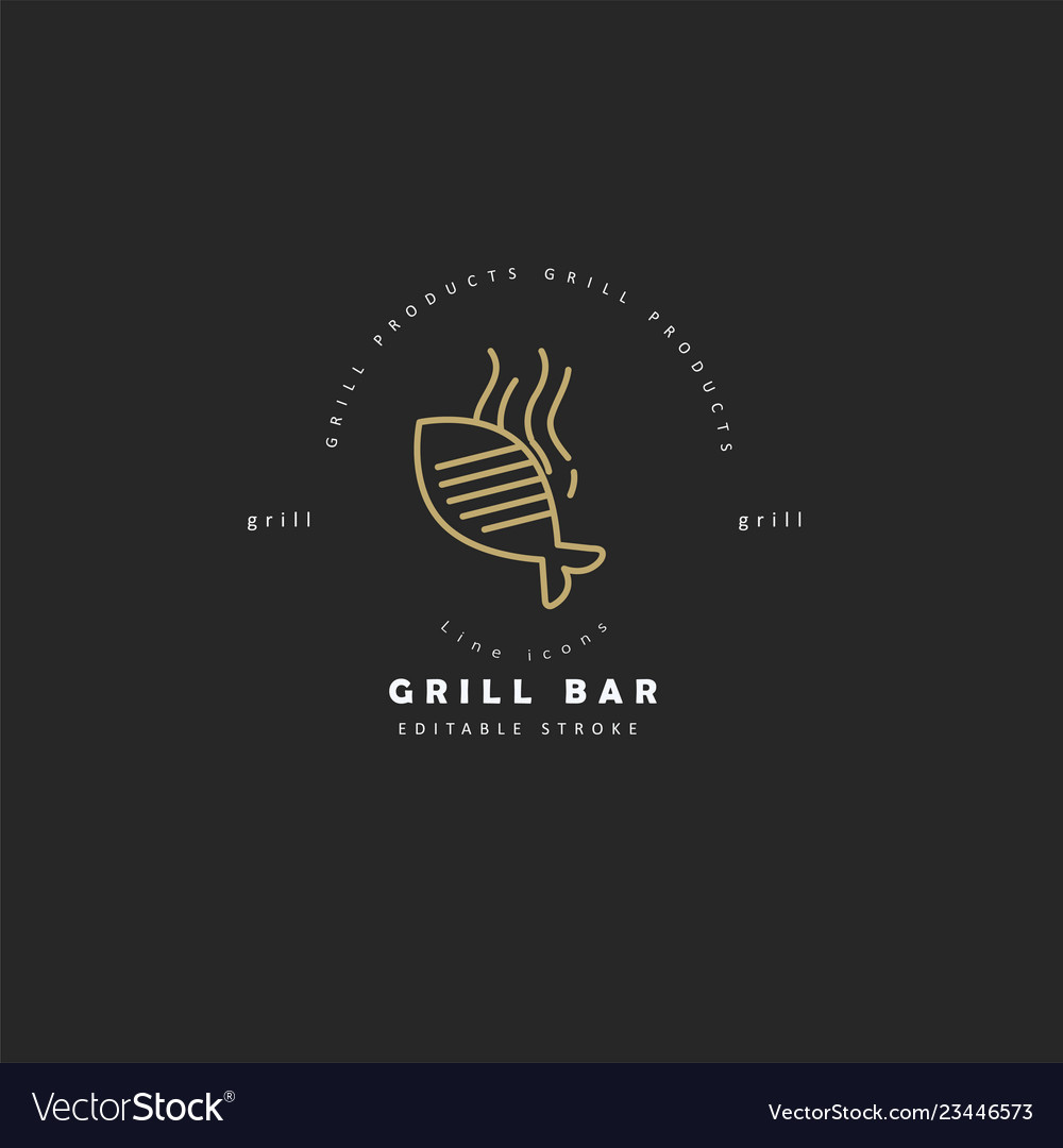 Icon and logo for meat and grill cafe or