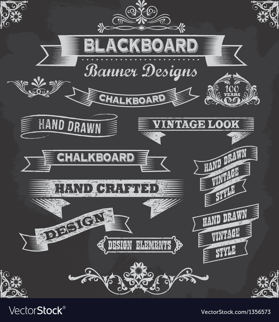 retro chalkboard calligraphy banners royalty free vector