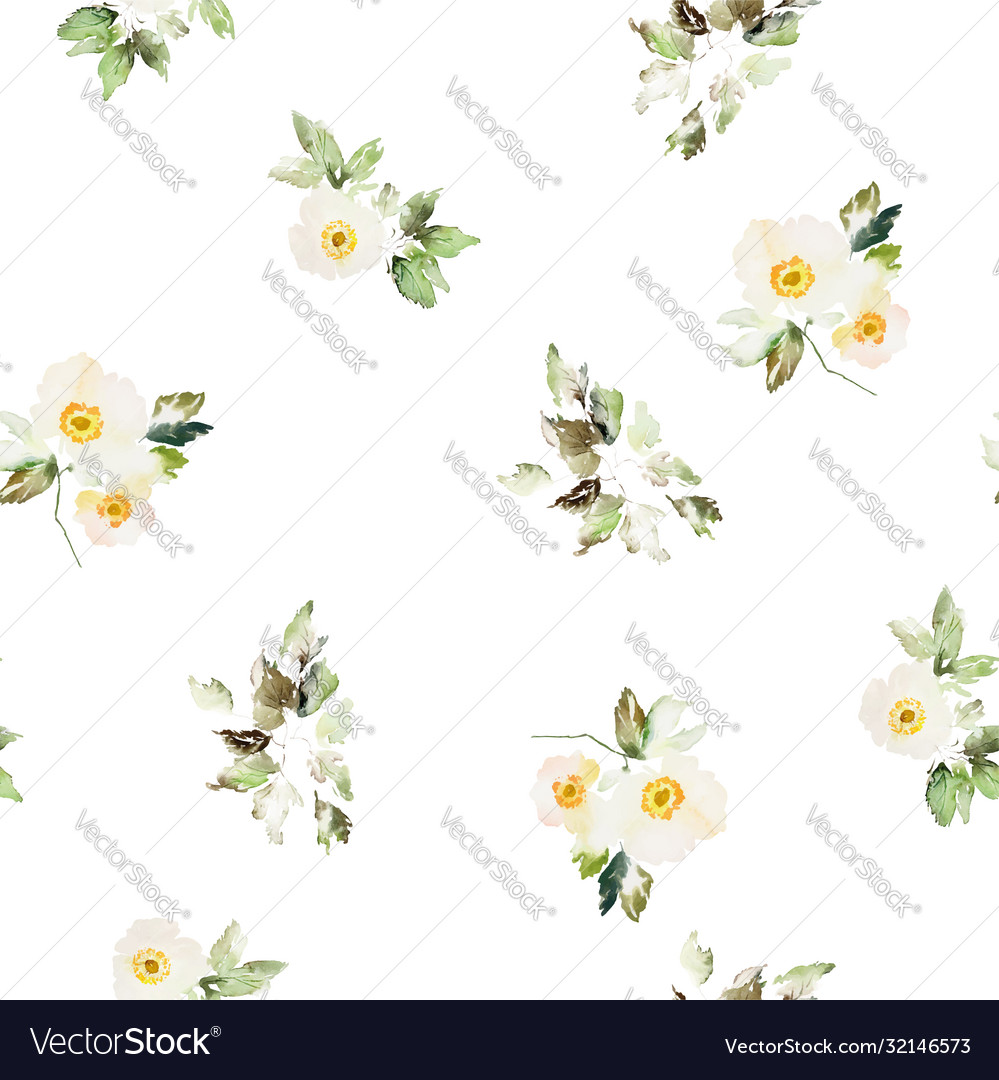 Seamless watercolor pattern with anemones bouquet