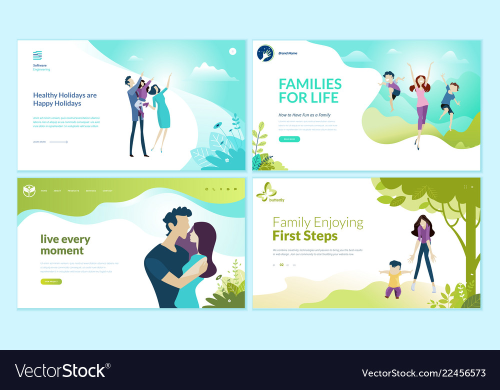 Set web page design templates for health care vector