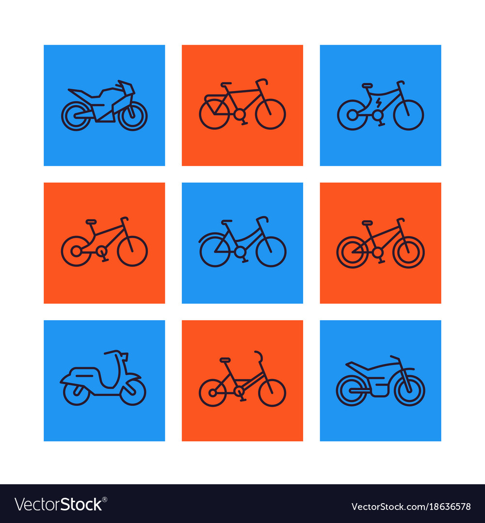 Bikes icons set linear style bicycle cycling