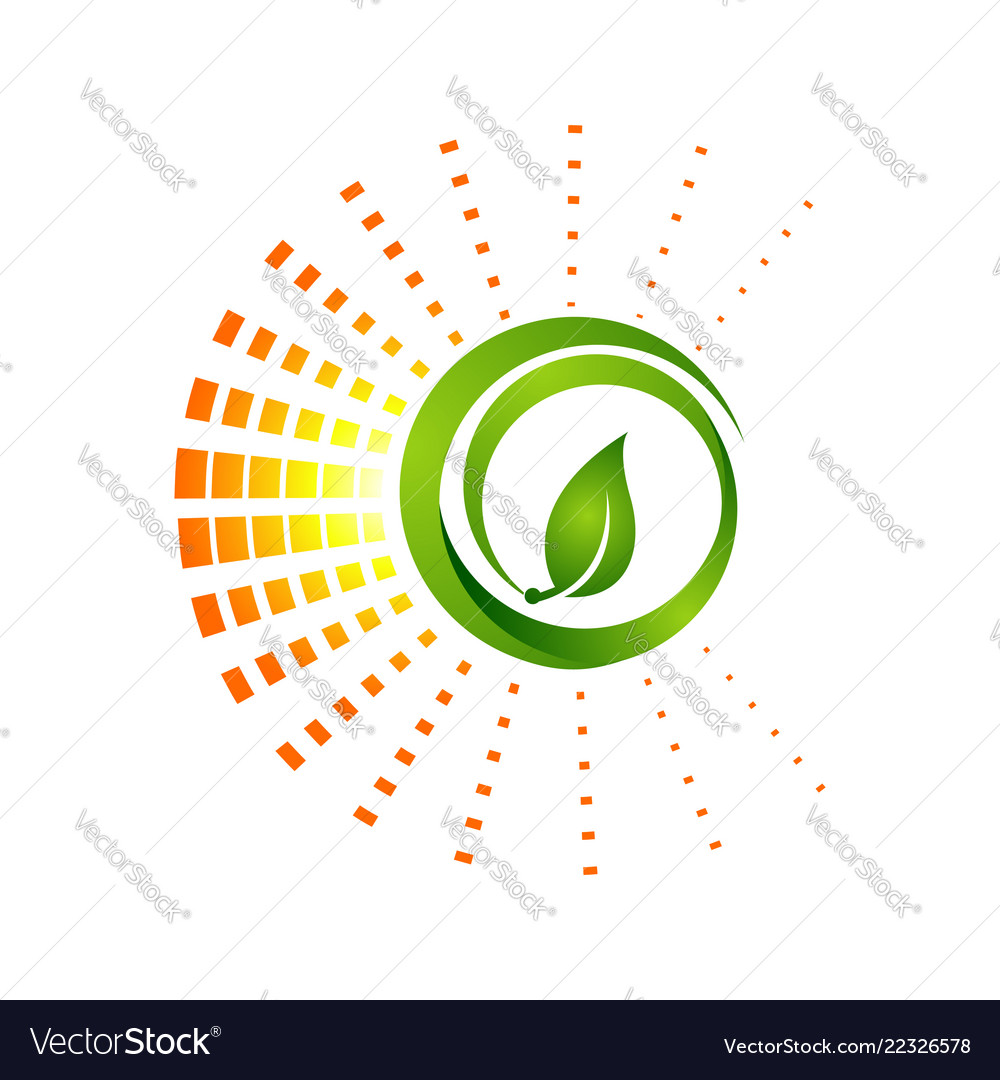 Circle green nature leaf logo template with pixel