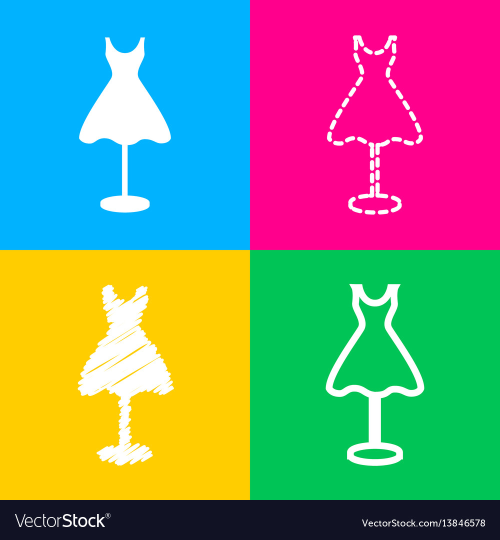 Mannequin with dress sign four styles of icon on