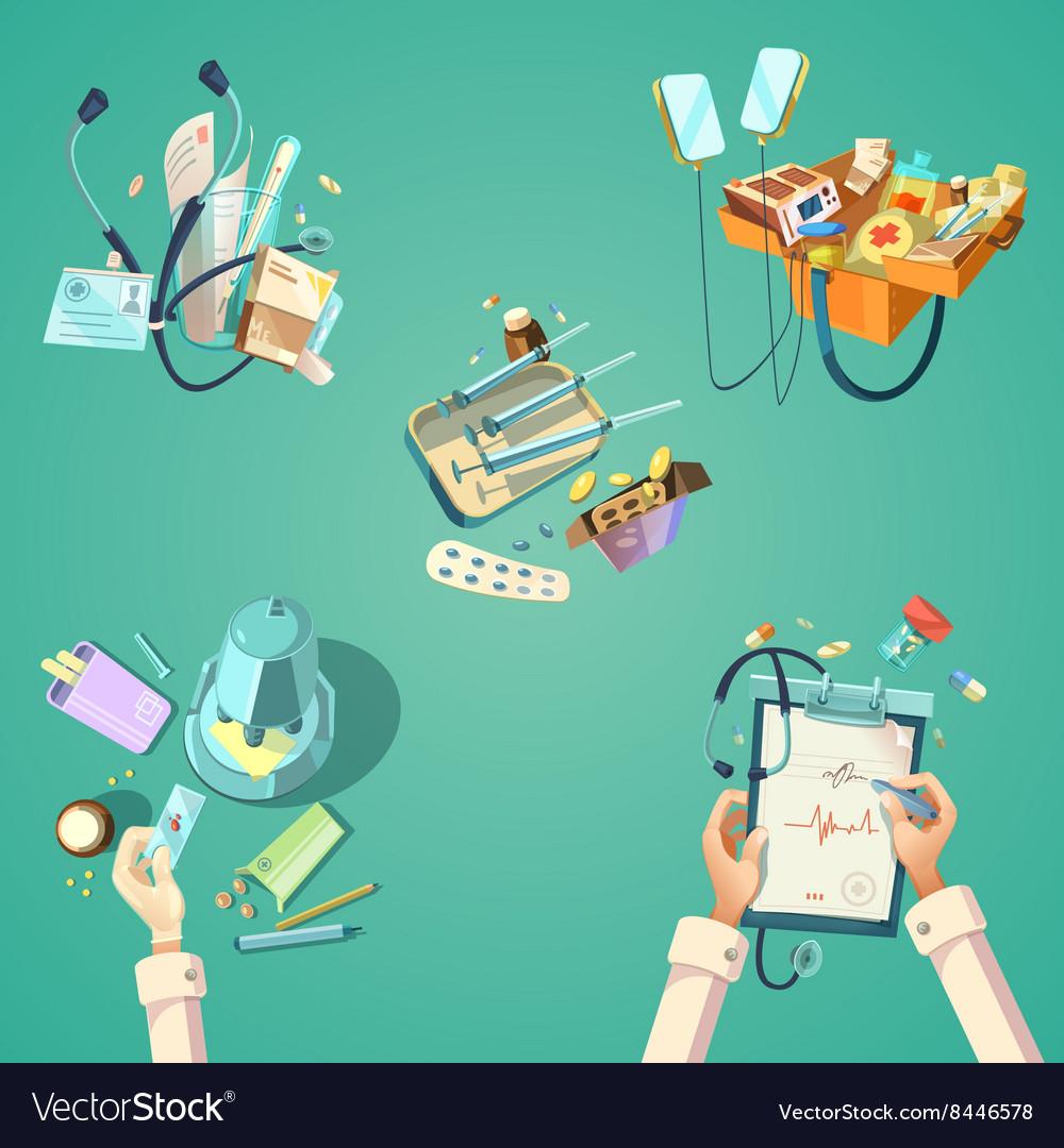 Medical cartoon retro set