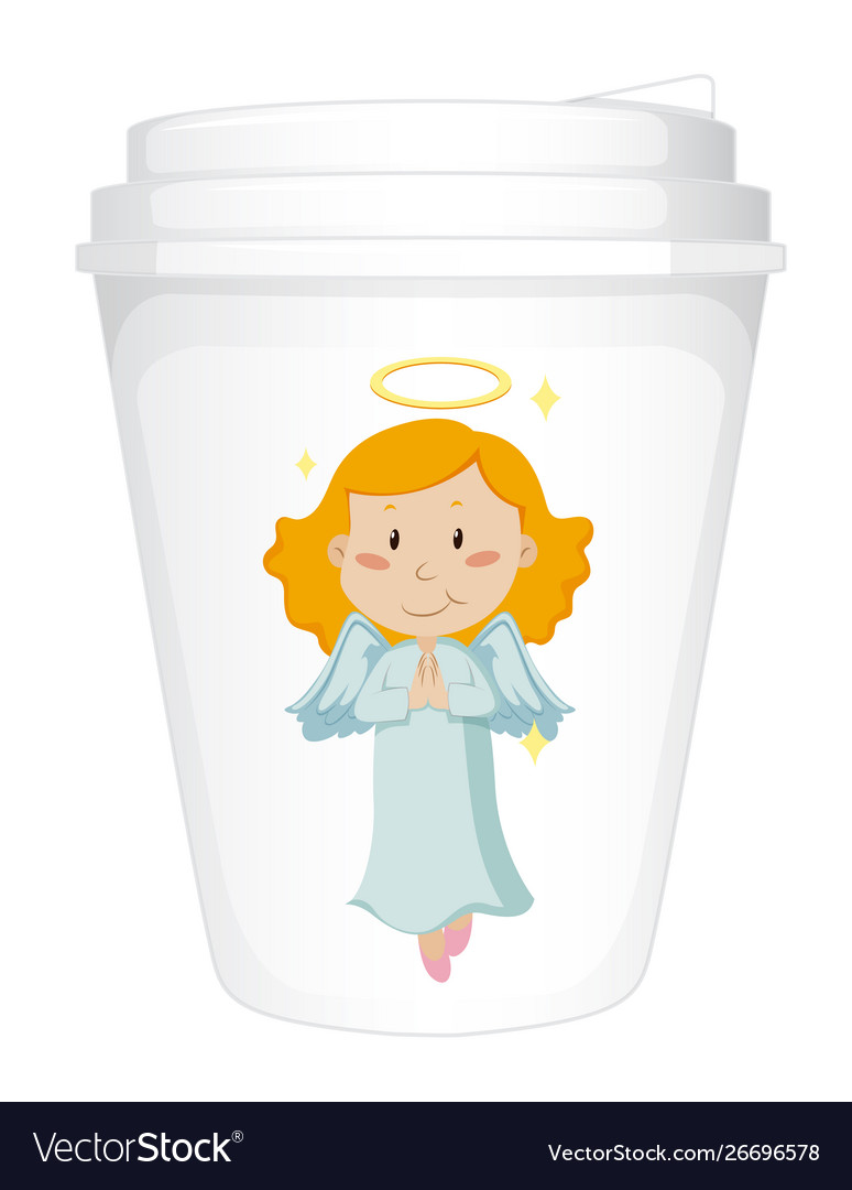 Paper Cup Template With Happy Angel