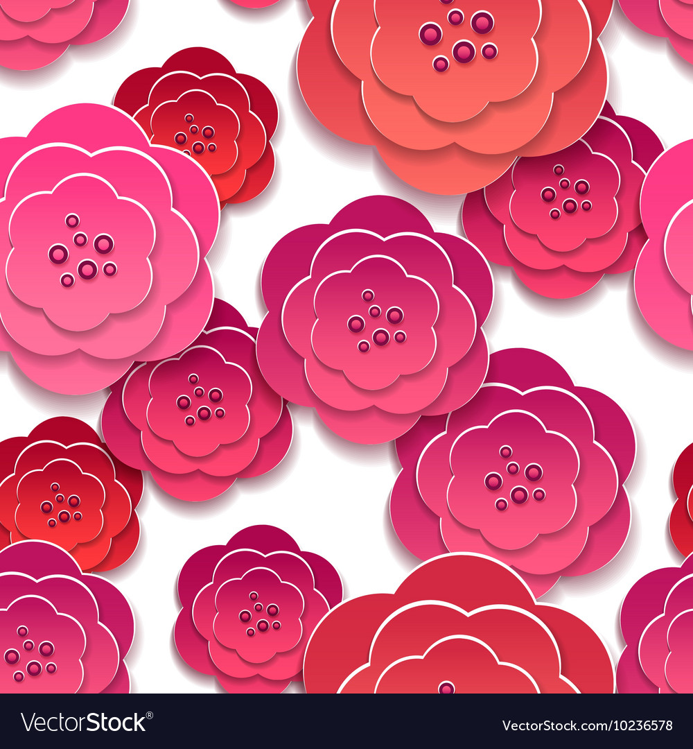 Paper Rose Flowers 3d Pattern Royalty Free Vector Image