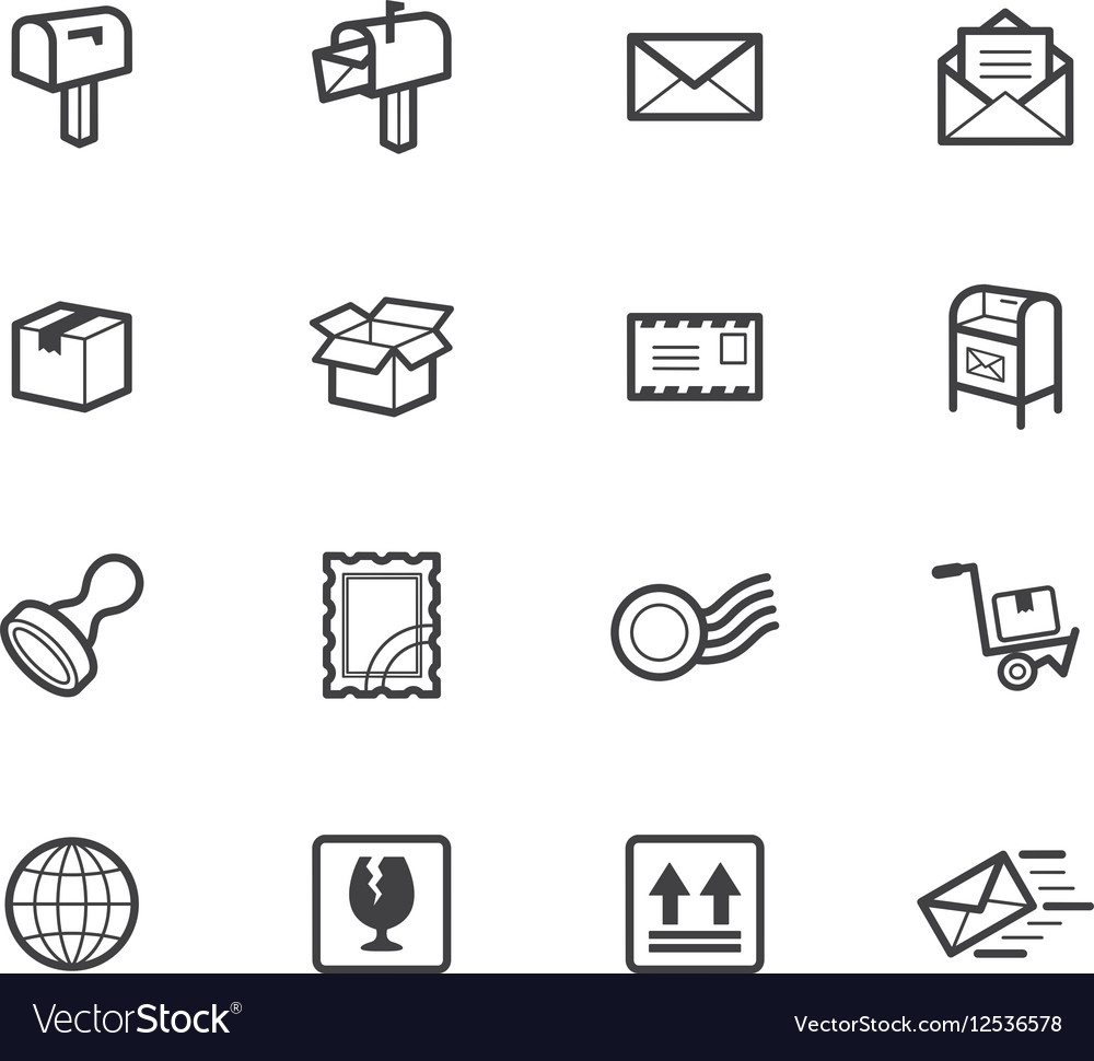 Post element black icon set on white background vector image