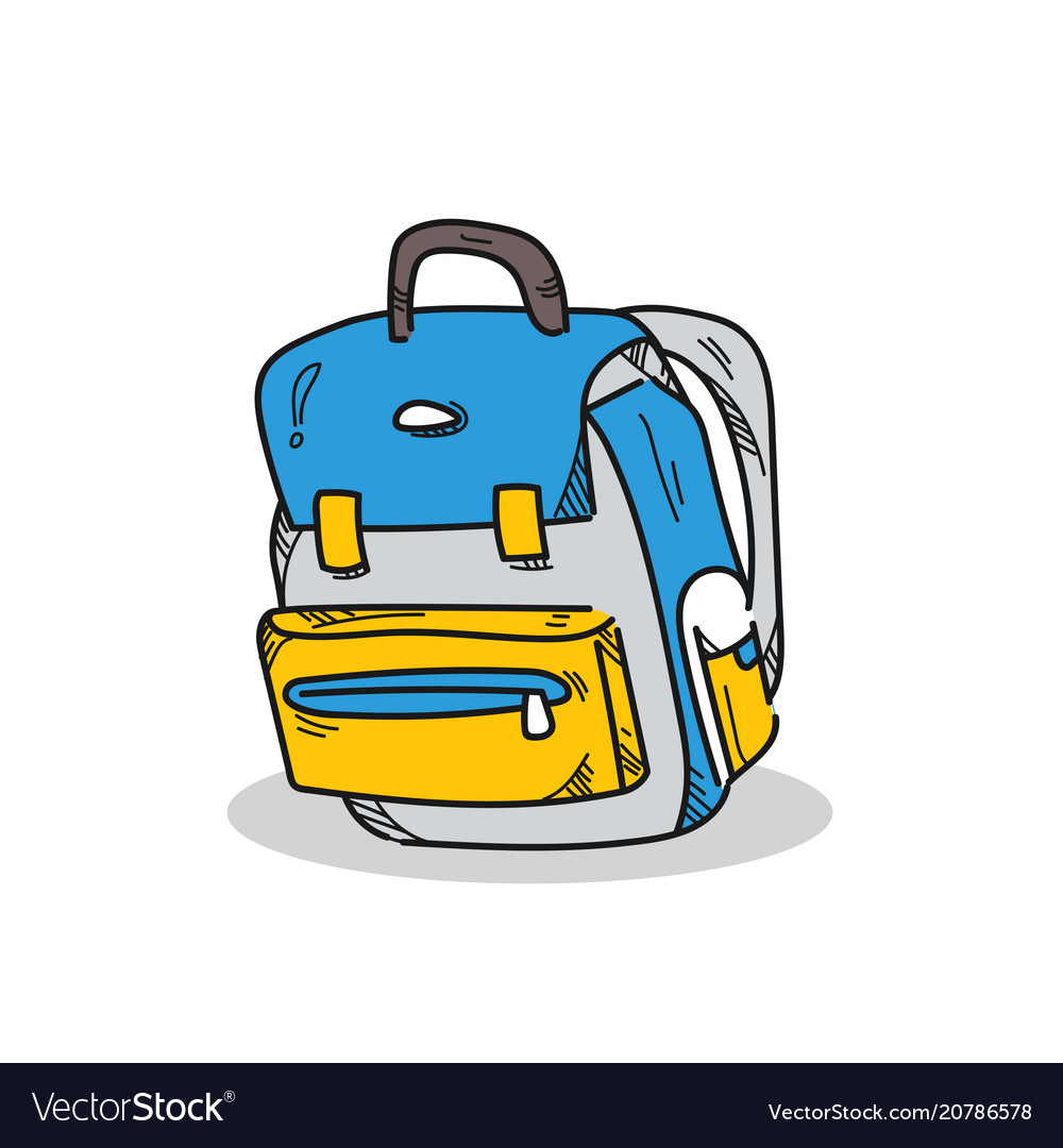 School bag on a white background