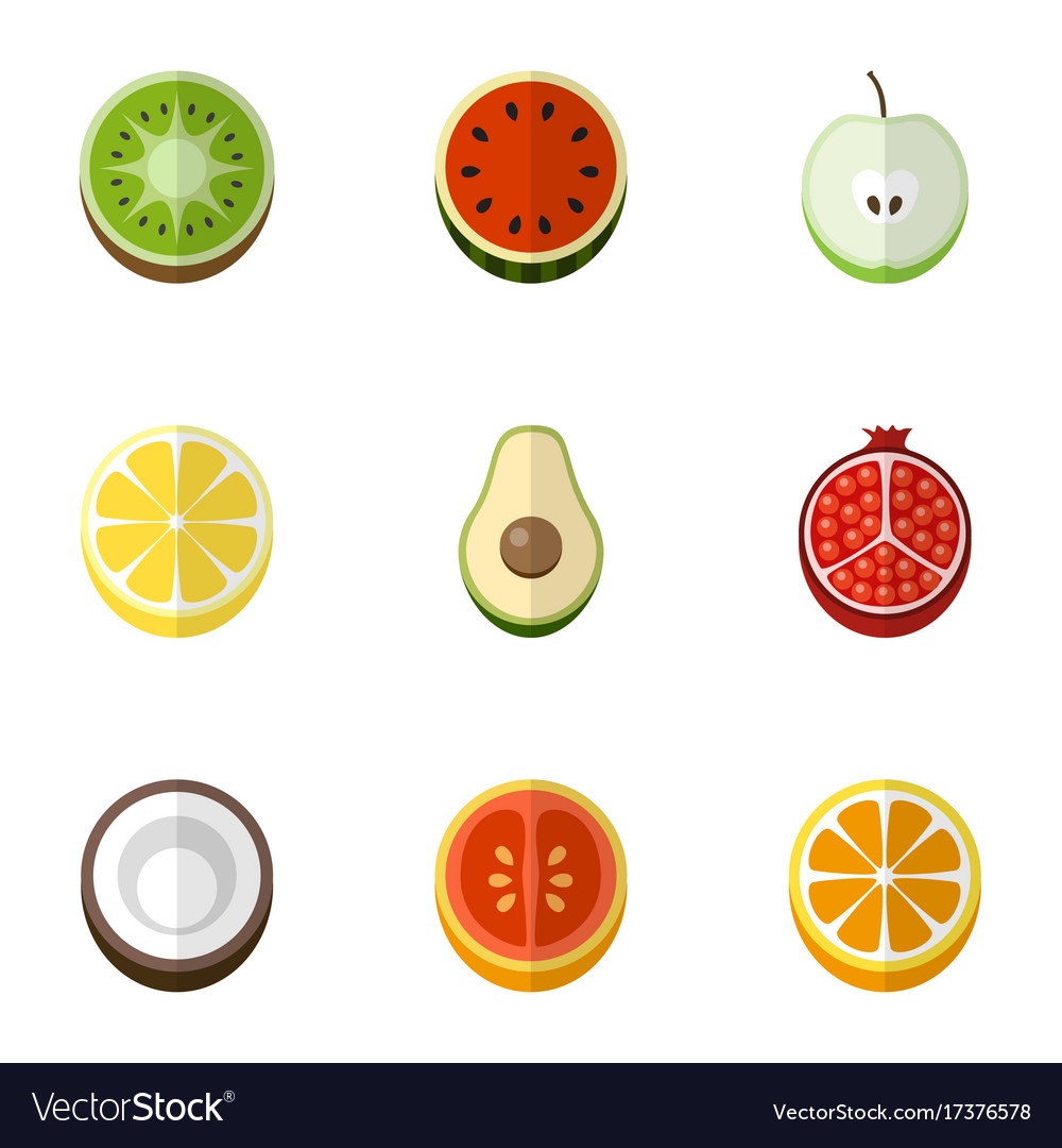 set of 9 editable fruits flat icons includes vector image