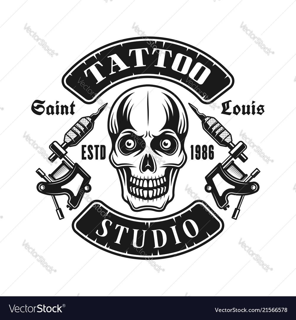 Skull and tattoo electric machines emblem
