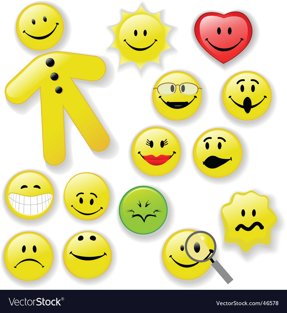 Smiley face button emoticon family vector image