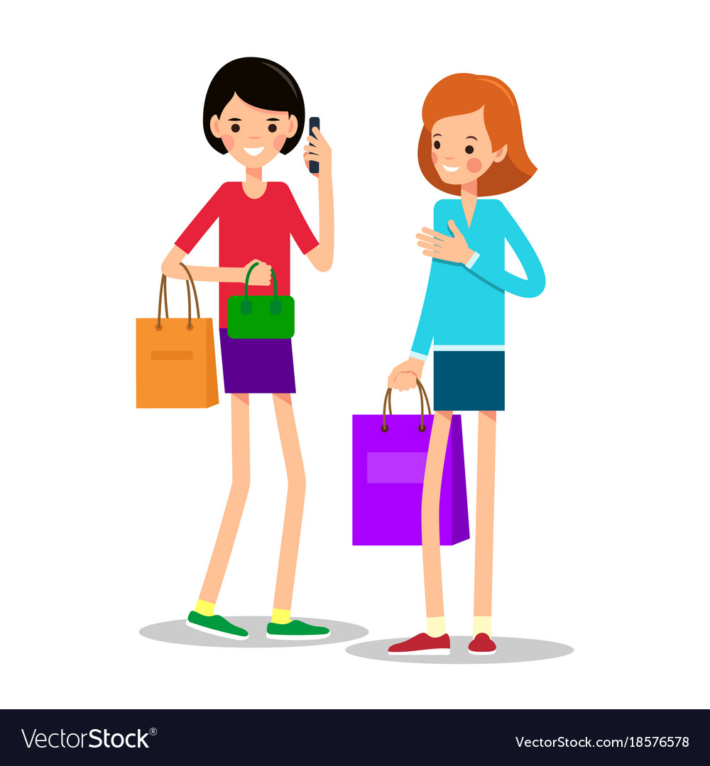 Two young girls with shopping bags one girl with