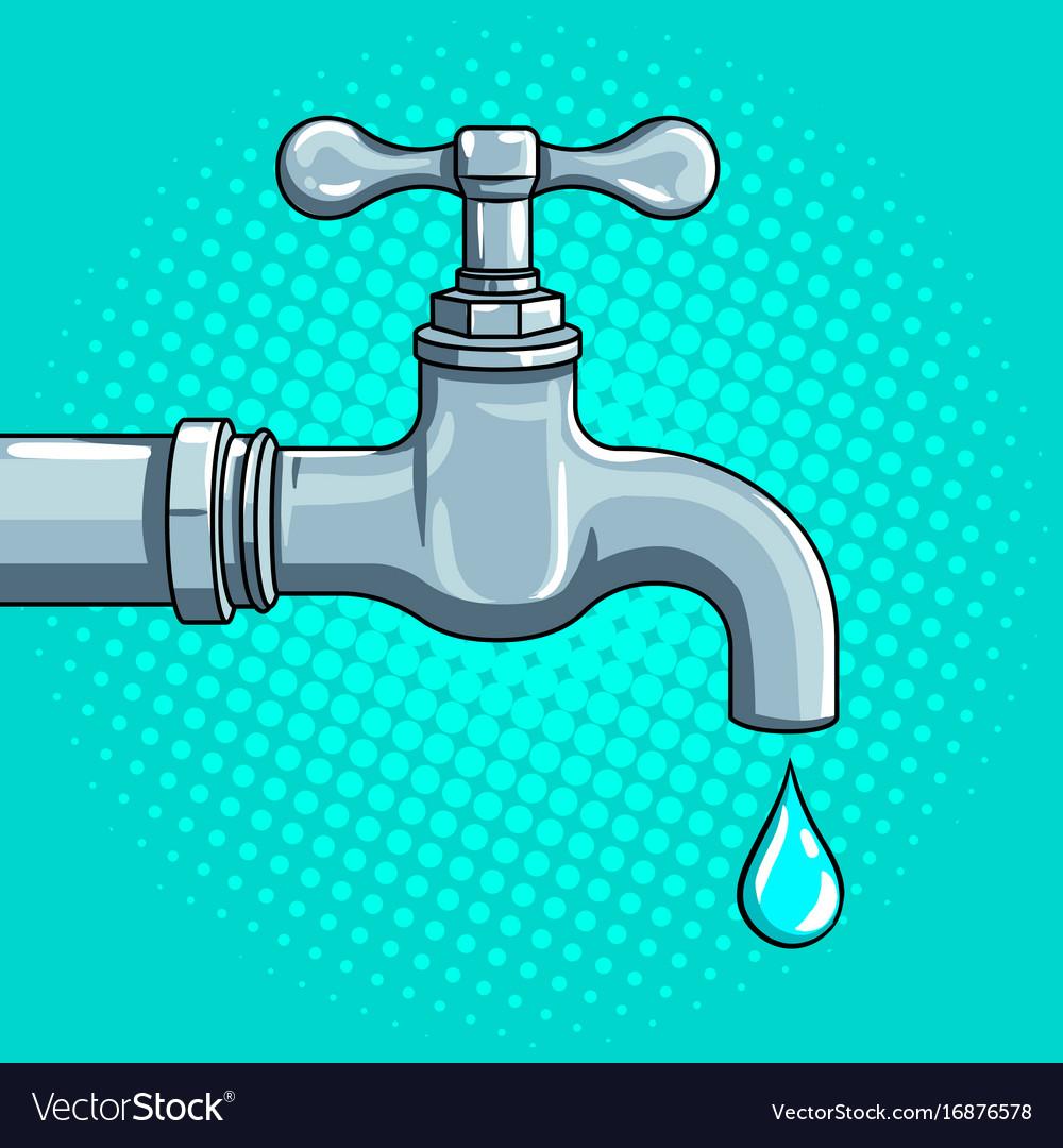 Water tap with drop pop art