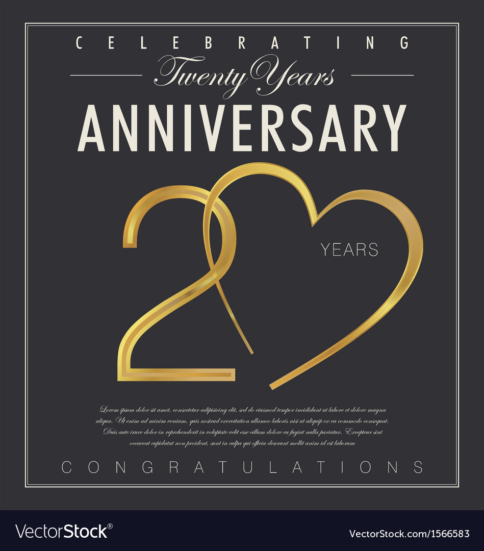 20 years Anniversary black background vector image