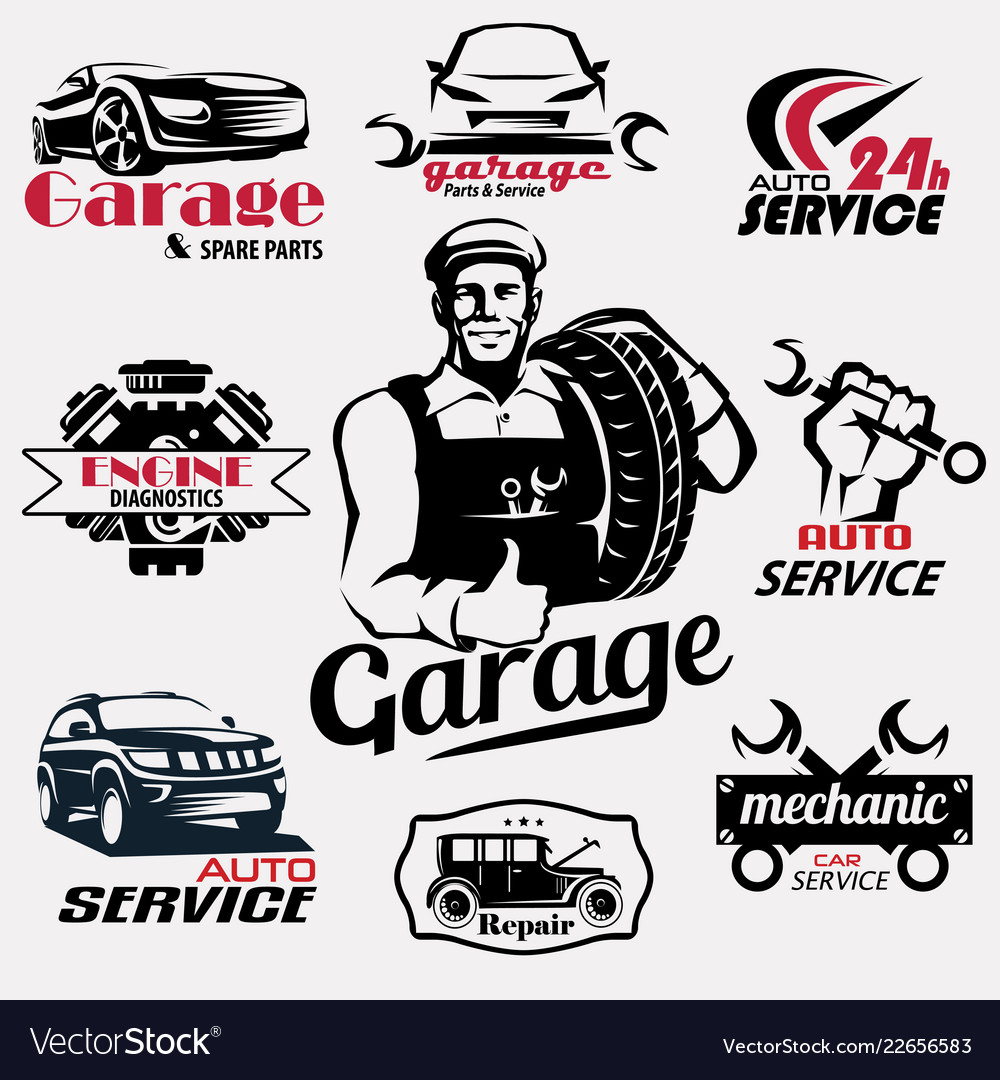 Auto service and garage retro emblems and labels
