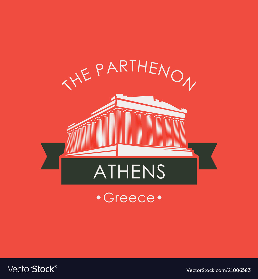 Banner with parthenon from athens greek landmark