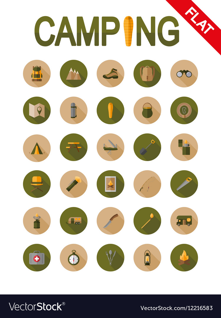Camping icons Flat